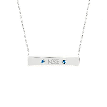 Monogram Birthstone Silver Name Bar Necklace