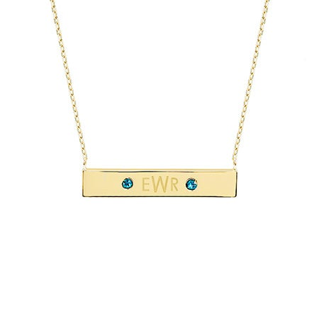 Monogram Birthstone Gold Name Bar Necklace