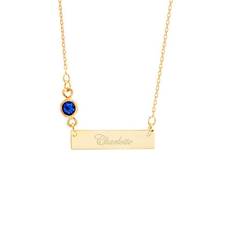 Custom Bezel Set Birthstone Gold Name Bar Necklace