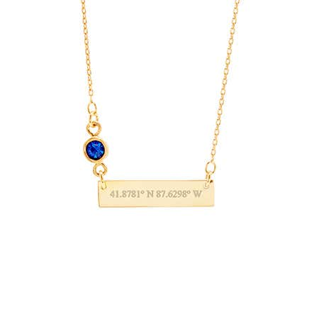 Custom Coordinate Bezel Set Birthstone Gold Bar Necklace