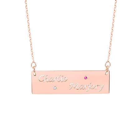 Custom Two Name Cut-Out 2 Birthstone Rose Gold Bar Necklace