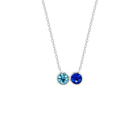 Personalized 2 Birthstone Bezel Set Silver Necklace