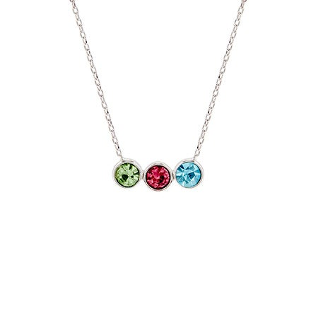 Personalized 3 Birthstone Bezel Set Silver Necklace