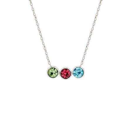 Personalized 3 Birthstone Bezel Set Silver Necklace