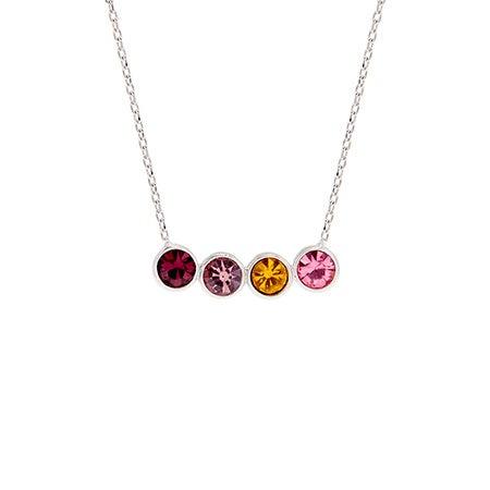 Custom 4 Birthstone Bezel Set Silver Necklace