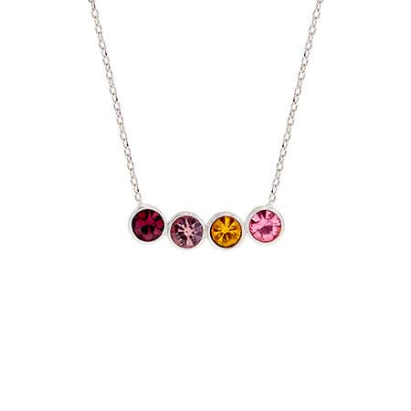 Custom 4 Birthstone Bezel Set Silver Necklace