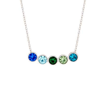 5 Stone Birthstone Bezel Set Silver Necklace