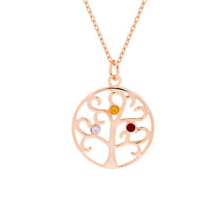 3 Stone Rose Gold Plated Birthstone Family Tree Pendant