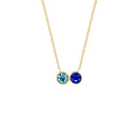 Custom 2 Birthstone Bezel Set Gold Necklace