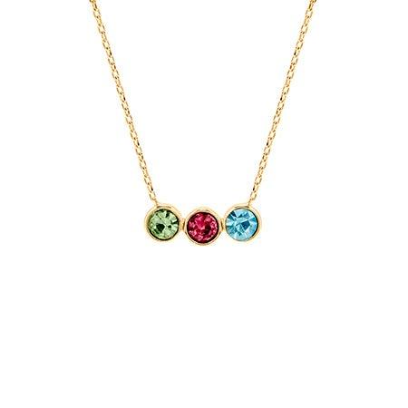 Custom 3 Birthstone Bezel Set Gold Necklace