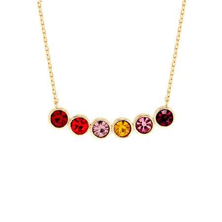6 Stone Birthstone Bezel Set Gold Necklace