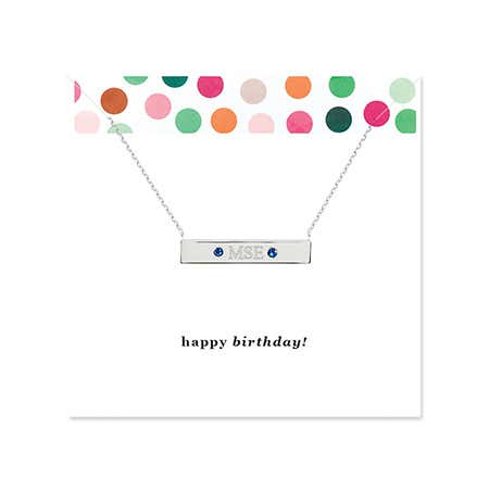 display slide 1 of 2 - Happy Birthday Monogram Birthstone Silver Name Bar Necklace - selected slide