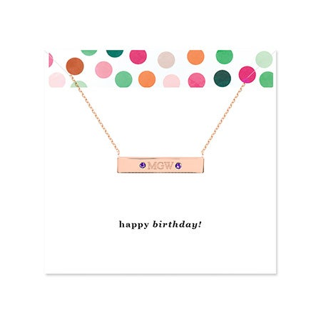 Birthday Monogram Birthstone Rose Gold Name Bar Necklace