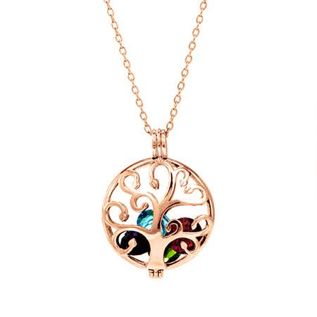Rose Gold Floating Locket Family Tree Necklace