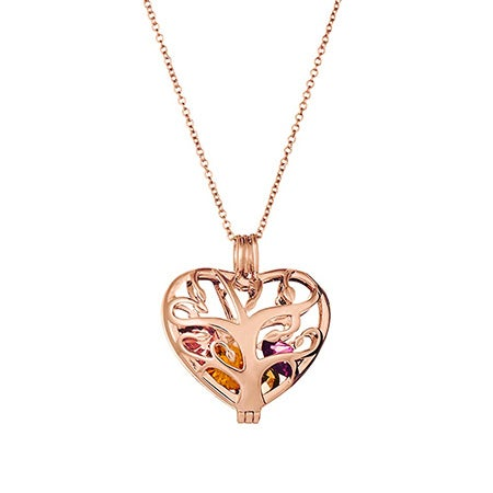 Heart Family Tree Birthstone Rose Gold Locket