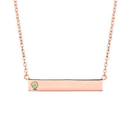 display slide 1 of 3 - Custom 1 Birthstone Rose Gold Name Bar Necklace - selected slide