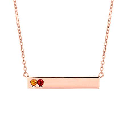 Custom 2 Stone Birthstone Rose Gold Name Bar Necklace