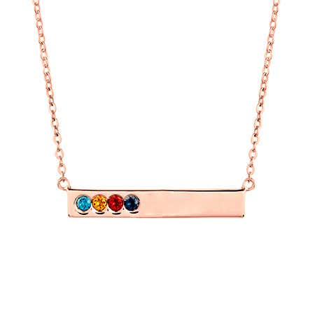 Custom 4 Birthstone Rose Gold Name Bar Necklace