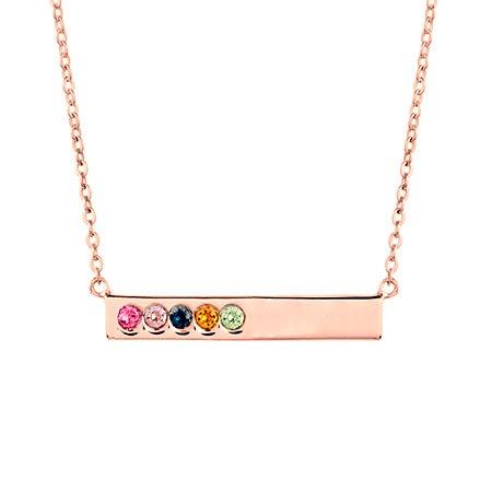 5 Birthstone Rose Gold Name Bar Necklace