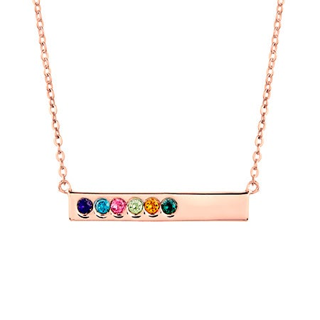 6 Stone Birthstone Rose Gold Name Bar Necklace
