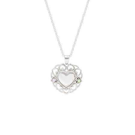 2 Stone Birthstone Filigree Heart Necklace