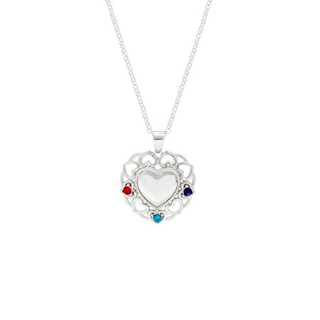 3 Birthstone Filigree Heart Necklace