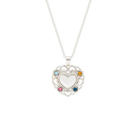 4 Birthstone Filigree Heart Necklace