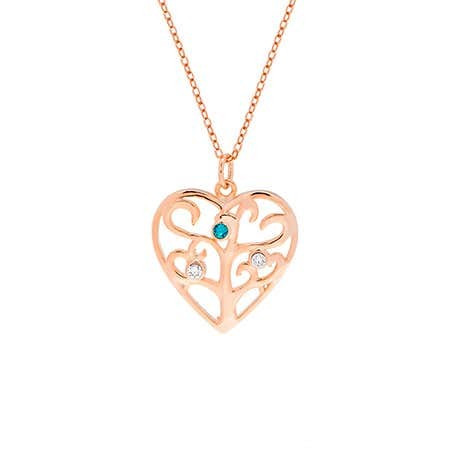 3 Birthstone Heart Family Tree Rose Gold Necklace
