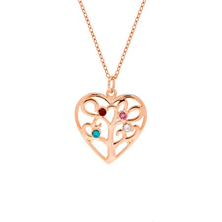 4 Birthstone Heart Family Tree Rose Gold Necklace