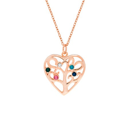 5 Birthstone Heart Family Tree Rose Gold Necklace