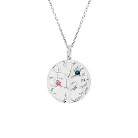 Sterling Silver 2 Birthstone Engravable Family Tree Necklace