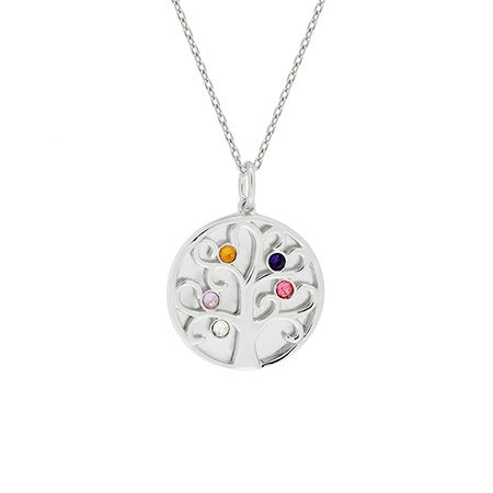 5 Birthstone Engravable Family Tree Silver Necklace