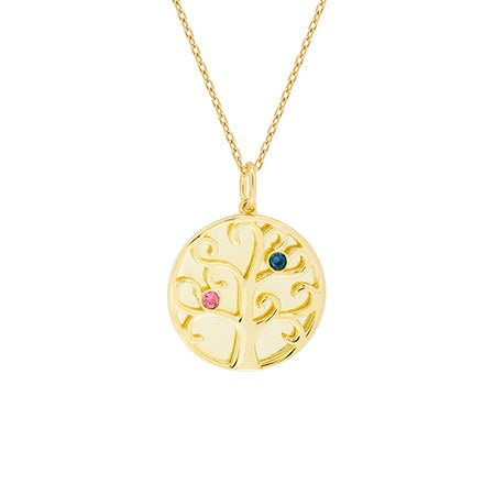 2 Stone Birthstone Engravable Family Tree Gold Necklace