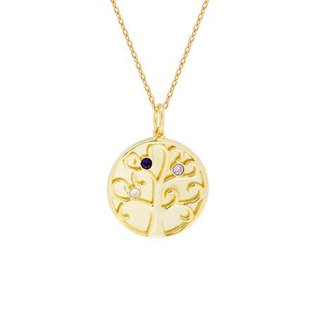 3 Stone Birthstone Family Tree Gold Necklace