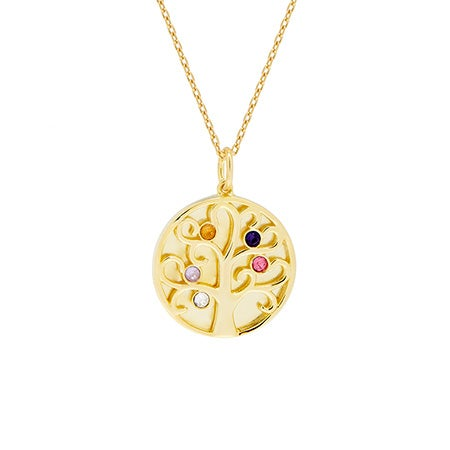 5 Birthstone Engravable Family Tree Gold Necklace