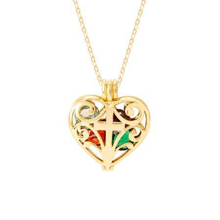Cross Gold Birthstone Heart Floating Locket