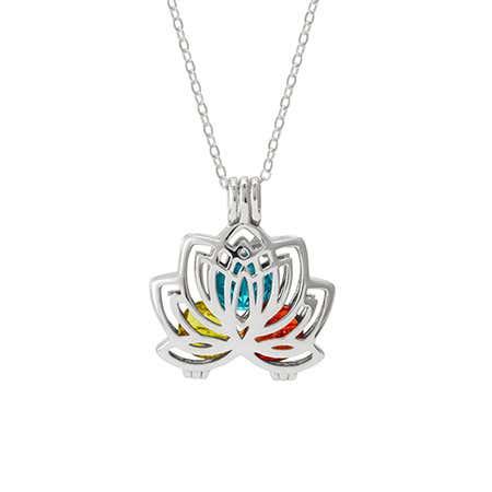 Lotus Flower Silver Birthstone Floating Locket
