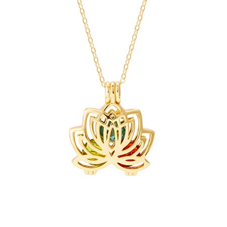 Lotus Flower Gold Birthstone Locket