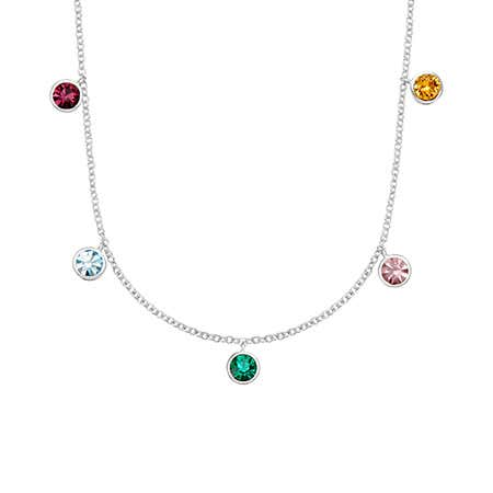 Dangling 5 Birthstone Silver Necklace