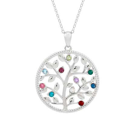 10 Stone Silver Cut-Out Family Tree Necklace