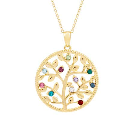 10 Stone Gold Family Tree Necklace
