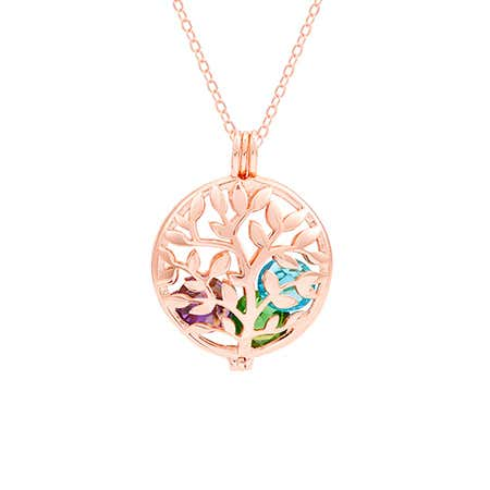Family Tree Rose Gold Birthstone Locket