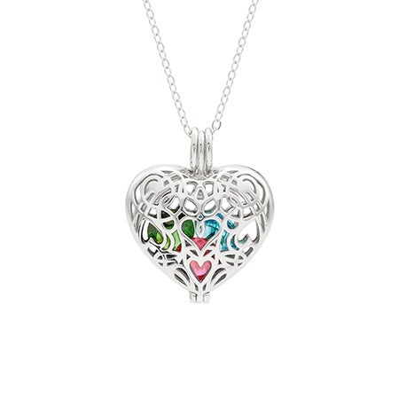 Filigree Heart Silver Birthstone Locket