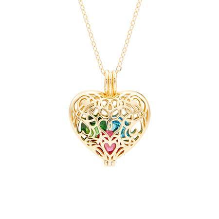 Filigree Heart Gold Birthstone Locket