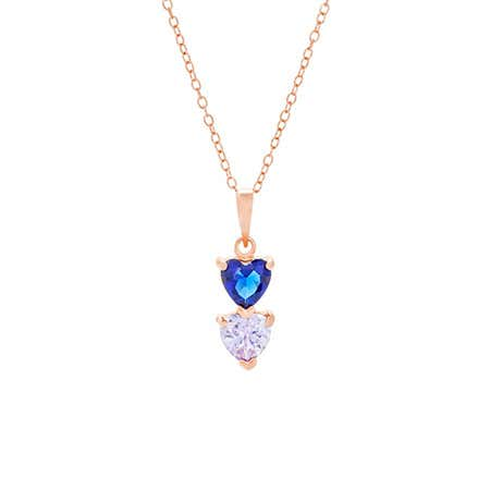 2 Stone Birthstone Rose Gold Heart Drop Mother's Necklace