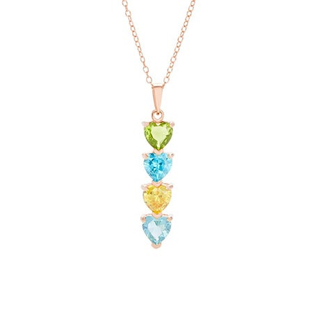 4 Stone Birthstone Rose Gold Heart Drop Mother's Necklace