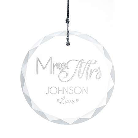 Mr. and Mrs. Round Faceted Glass Ornament