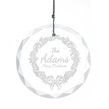 Engraved Wreath Glass Ornament