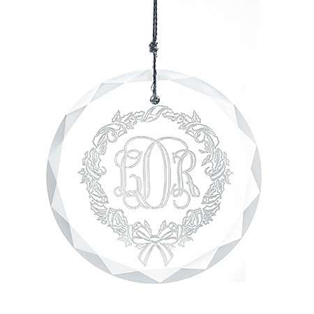 display slide 1 of 4 - Personalized Monogram Glass Ornament - selected slide