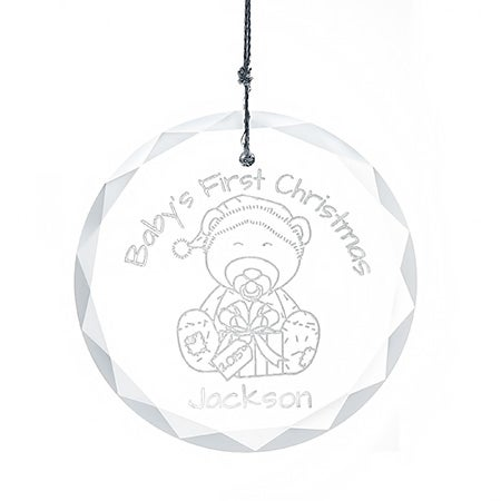 Personalized Baby's First Christmas Glass Ornament
